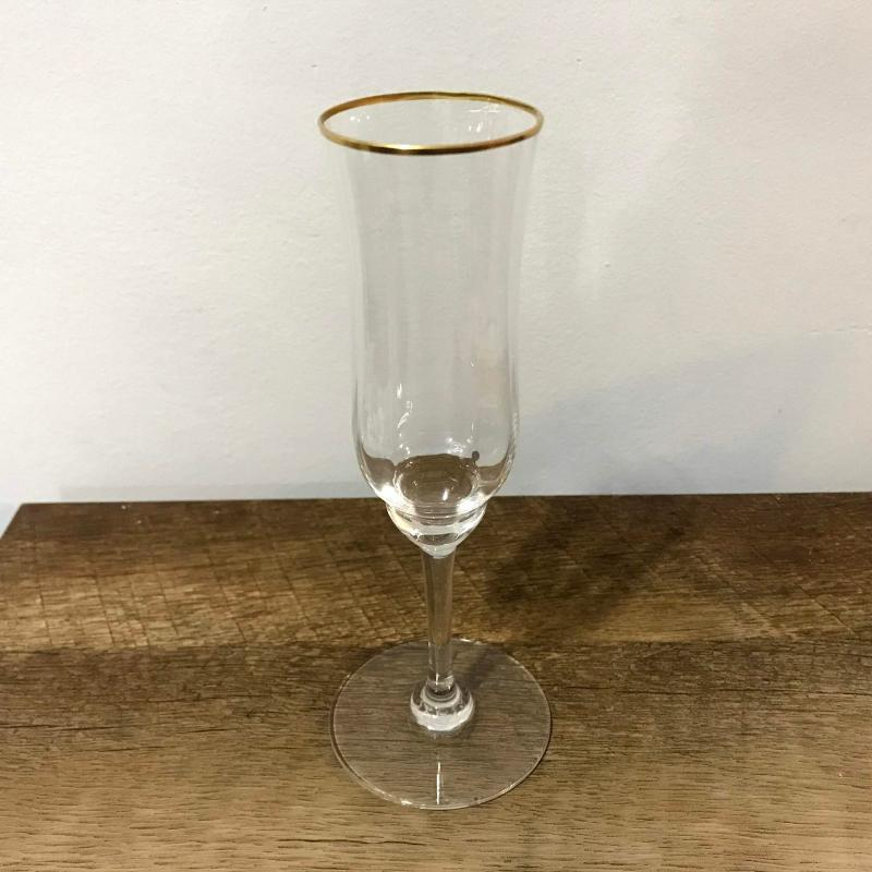 Baccarat Crystal Capri Champagne Flute Gold Trim Fluted Glass Good Condition