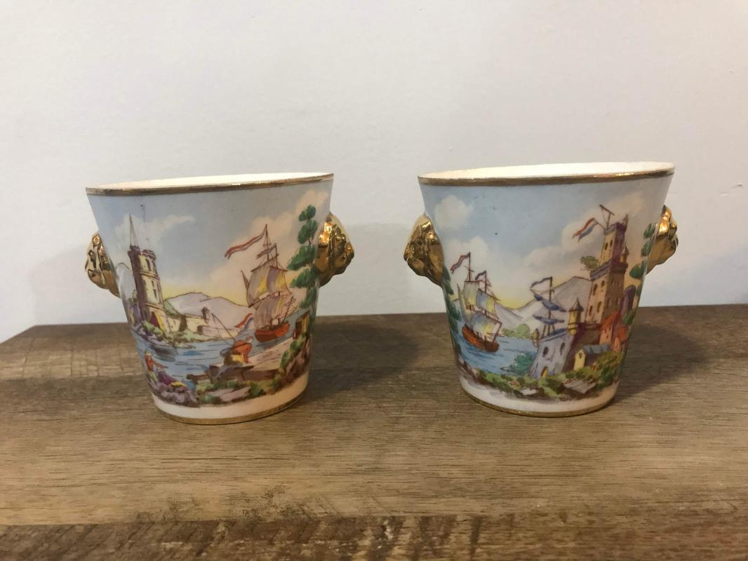 French Cache Pot Pair Hand Painted Porcelain with Faix Sevres Marks 1950s France