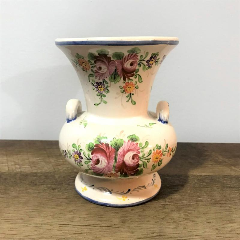 French Faience Vase Hand Painted Tin Glazed Earthenware Early 1900s Flower Print Floral Vase