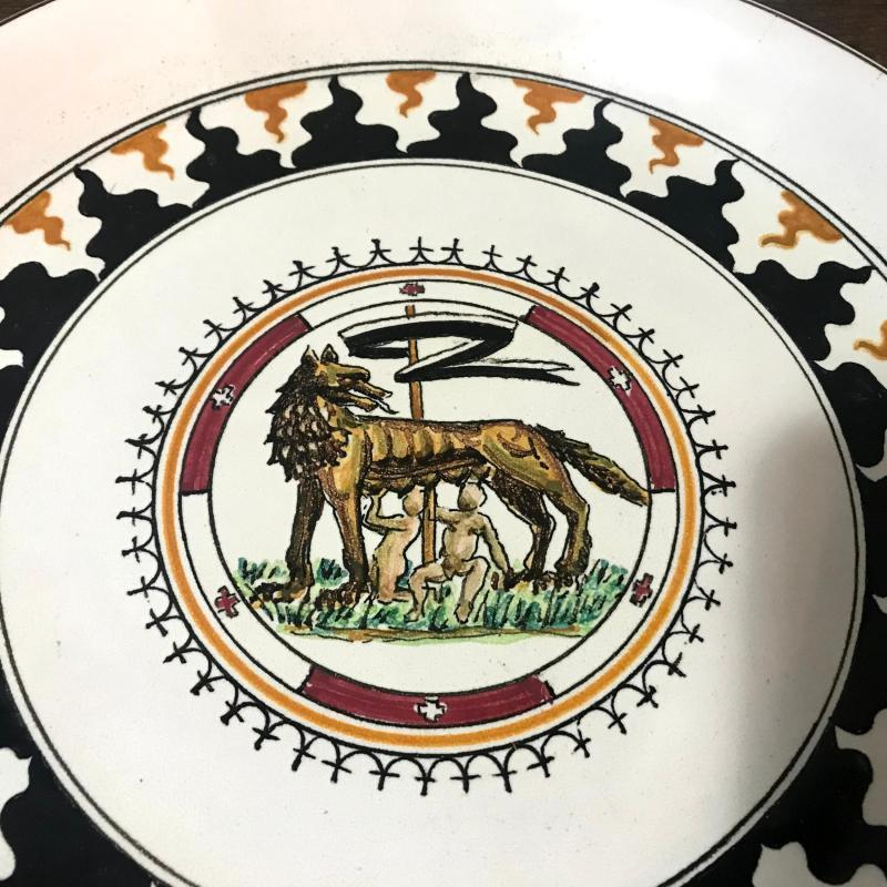 Vintage 1950s Siena Italian Majolica Plate Mid Century Antique Made in Italy