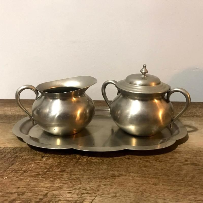 Antique Stainless Steel Serving Set Tray Creamer Sugar Pot Tea Coffee Service