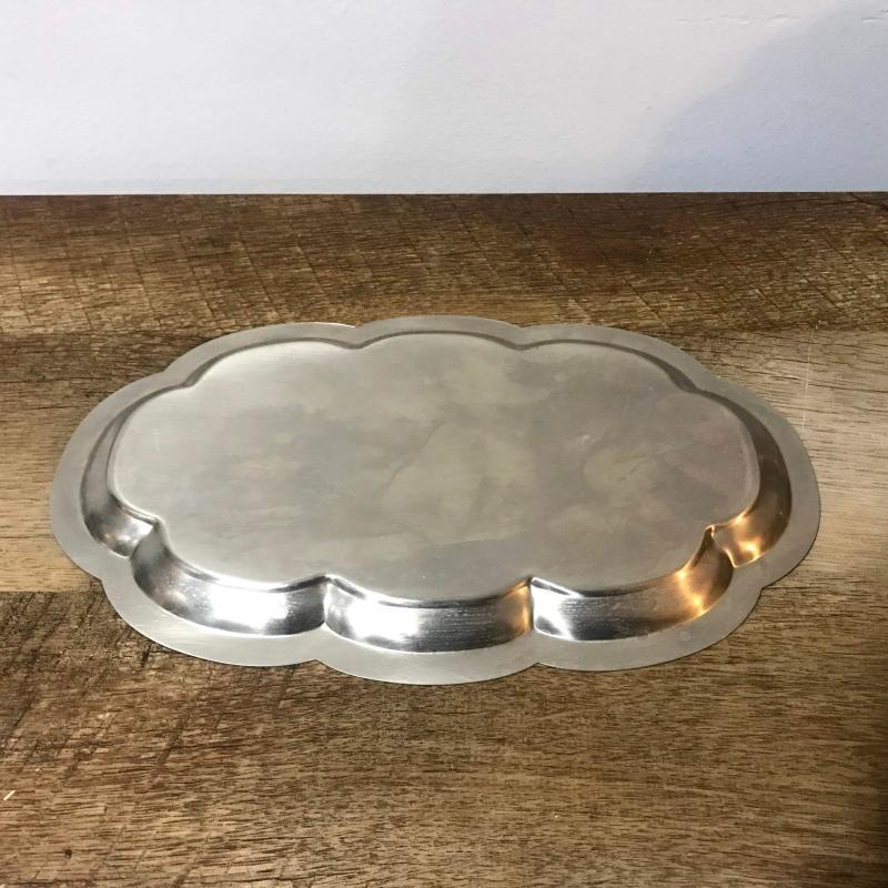 Antique Stainless Steel Serving Set Tray Creamer Sugar Pot Tea Coffee Service