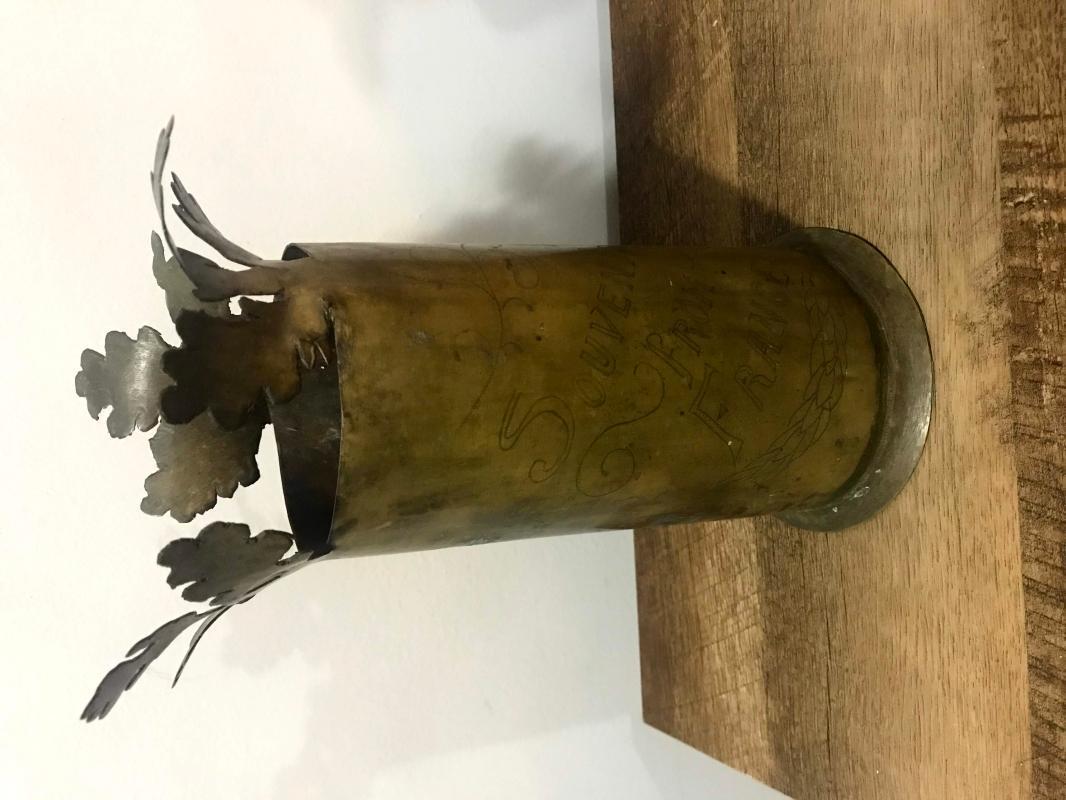 Antique WWI French Trench Art Vase Mortar Shell Vintage World War I 1918 Memorabilia