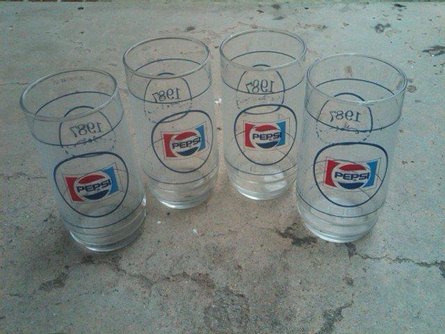 PEPSI COLA 1987 SOFT DRINK SODA POP TUMBLER GLASS RETRO KITCHEN BAR UTENSIL SET