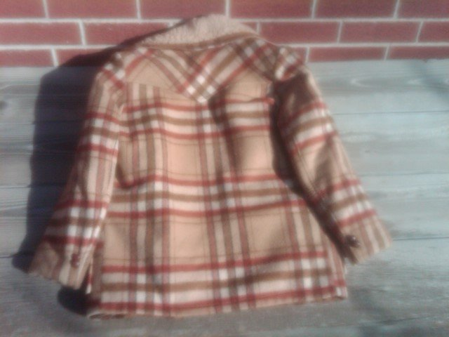 LEE WALD RETRO PLAID BUTTON STYLE JACKET CAMPUS TYPE WINTER COAT FAUX SHEEP SKIN
