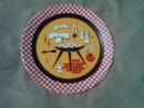 RETRO CHECKERBOARD BAR B Q PLATTER PAINTED TIN METAL FOOD SERVING TRAY DECORATIVE PLATE