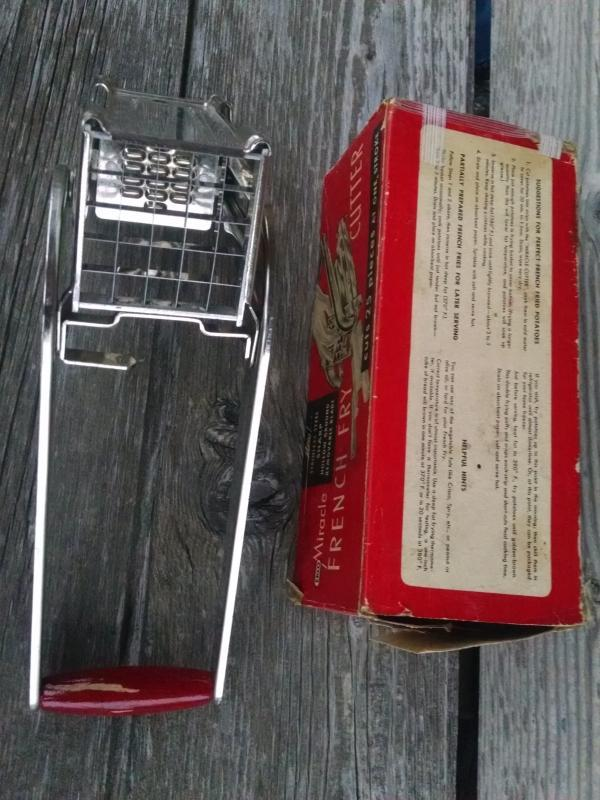 miracle french fry potato cutter vegetable fruit food preparation utensil stainless steel kitchen tool ekco original cardboard advertising box