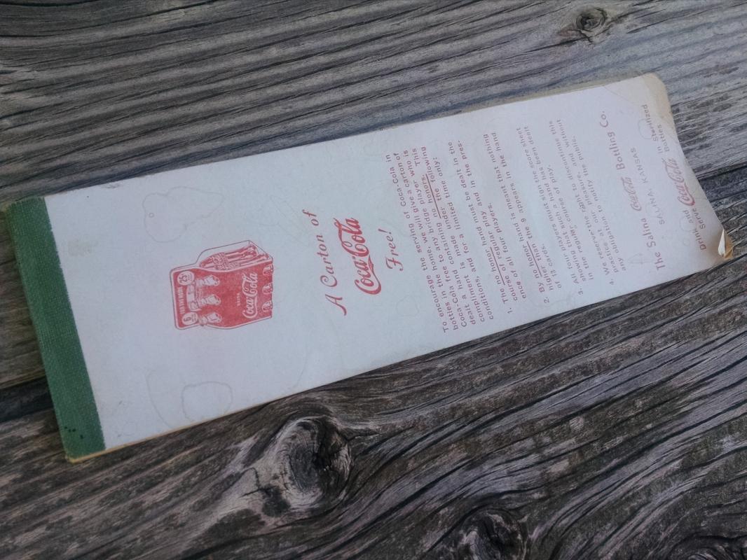 free coke soda pop promotional booklet bridge tally note pad salina kansas coca cola bottling advertising tablet