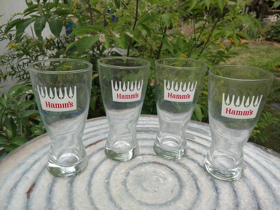 HAMMS BEER GLASS LAND SKY BLUE WATER TUMBLER BAR LOUNGE GLASSES LIBBEY OWENS ILLINOIS TOLEDO OHIO RETRO GLASSWARE