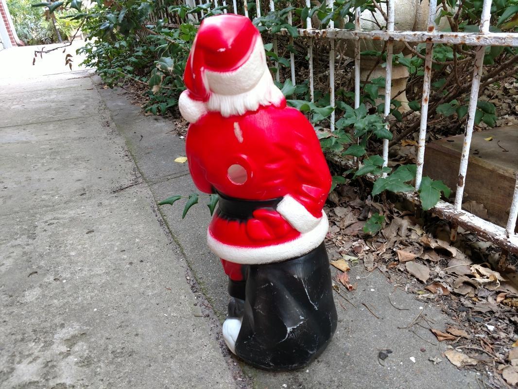 santa claus porch statue christmas holiday decoration empire plastics tarboro north carolina light fixture1969 dated light fixture ornament
