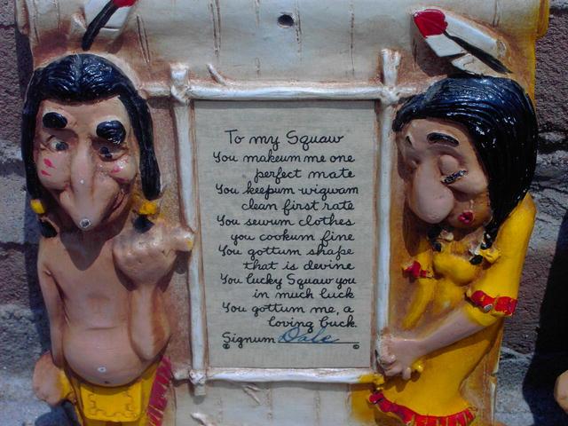 INDIAN CHIEF SQUAW WALL PLAQUE BURWOOD POEM NOVELTY DECORATION NATIVE AMERICAN CARTOON ORNAMENT