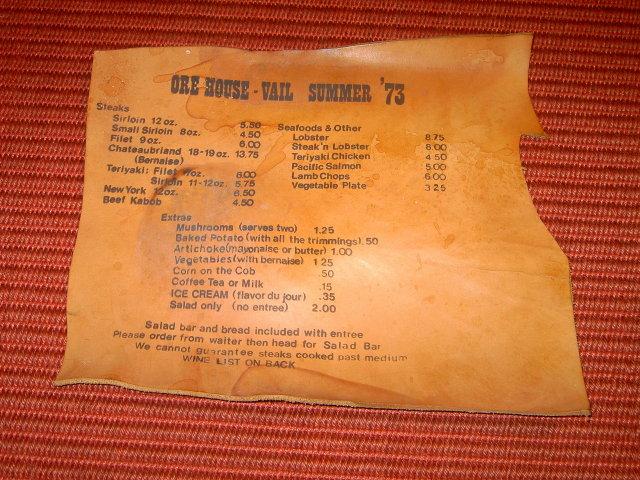 ORE HOUSE VAIL COLORADO 1973 LEATHER RESTAURANT MENU WINE PRICE LIST