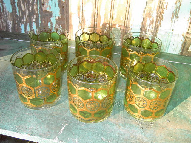 WASHINGTON PASINSKI GLASSES BAR COCKTAIL TUMBLERS RETRO GREEN GOLD SUNBURST PATTERN GLASS
