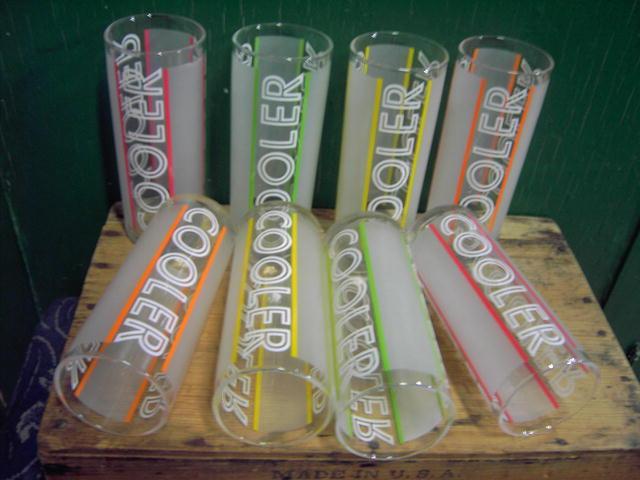 colorful cooler kitchen bar glass tumblers retro glassware set orange red yellow green stripe pattern