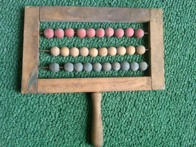 GRAMMAR SCHOOL ABACUS COLORED WOOD BEAD COUNTING LEARNING TOY