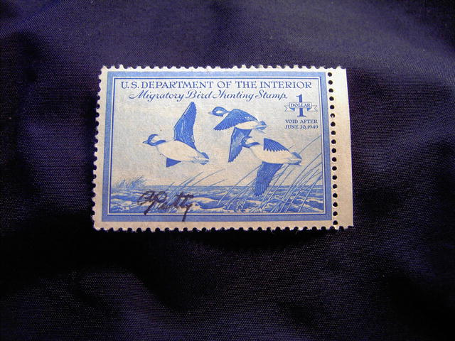 MIGRATORY BIRD DUCK HUNTING STAMP 1948 1949 BUFFLEHEAD