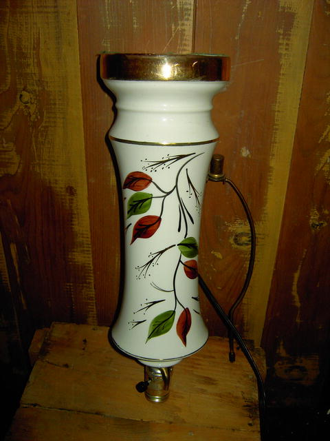 POTTERY PARLOR DRESSER TABLE LAMP GREEN BROWN GOLD LEAF