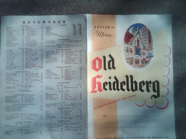 OLD HEIDELBERG FOOD BEVERAGE MENU CHICAGO ILLINOIS RESTAURANT SOUVENIR PUBLICATION
