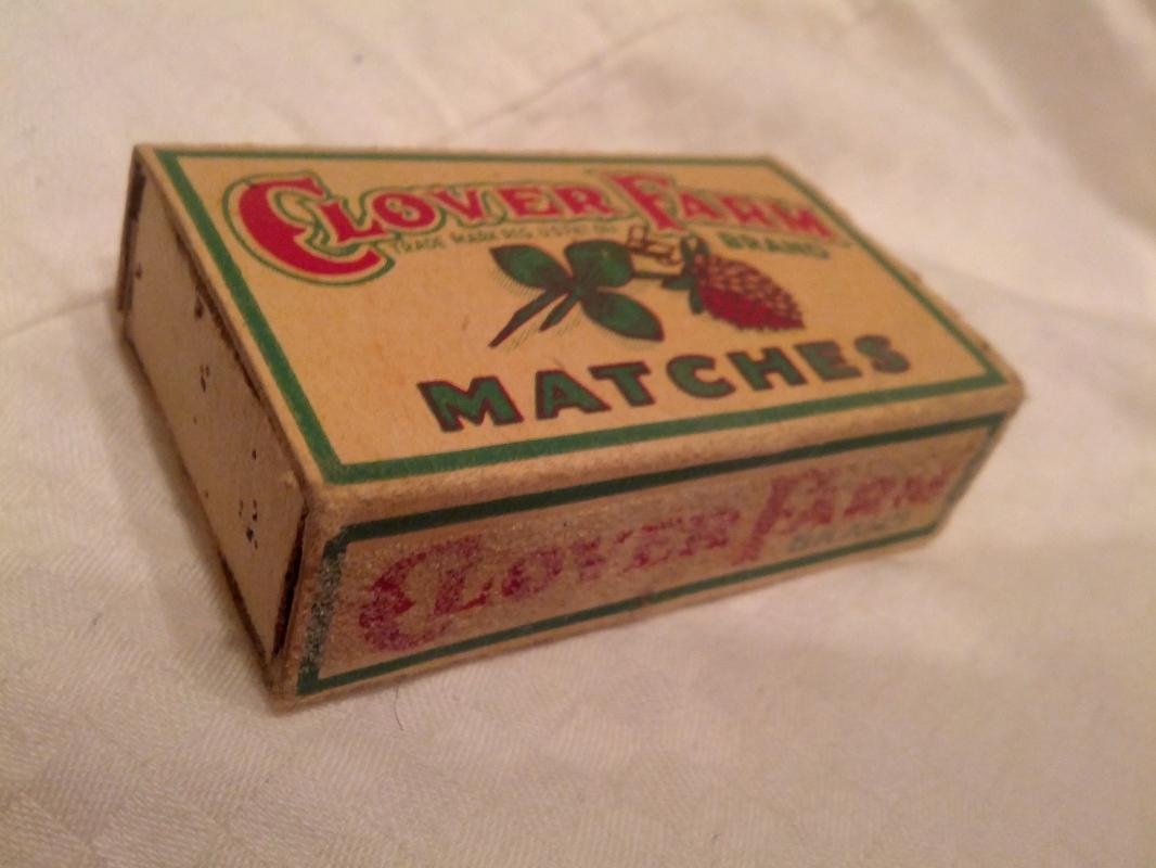 Clover Farm Stores Match Box Cleveland Ohio Cardboard Paper Advertising