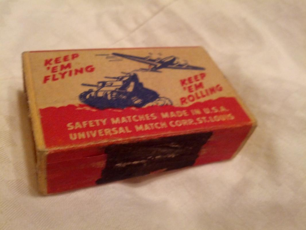 Universal Matchbox St Louis Missouri Cardboard Advertising Keep Em Rolling Flying United States Military Collectible World War Two Era Household Good