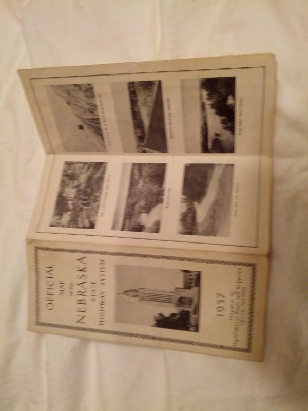Nebraska State Road Map 1937 Tourism Guide Travel Publication Cornhusker Statehood Collectible