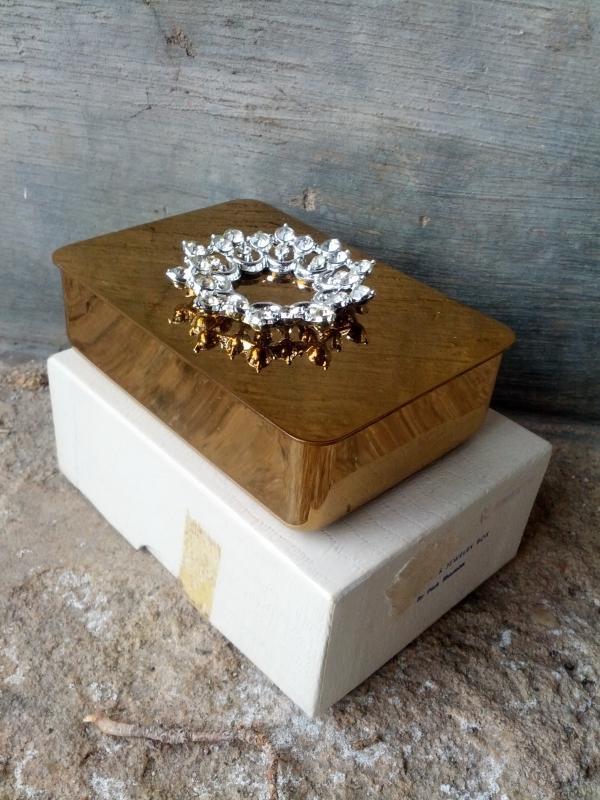 park sherman brass jewelry box rhinestone floral flower lid decoration 1950's dressing table ornament vanity decoration