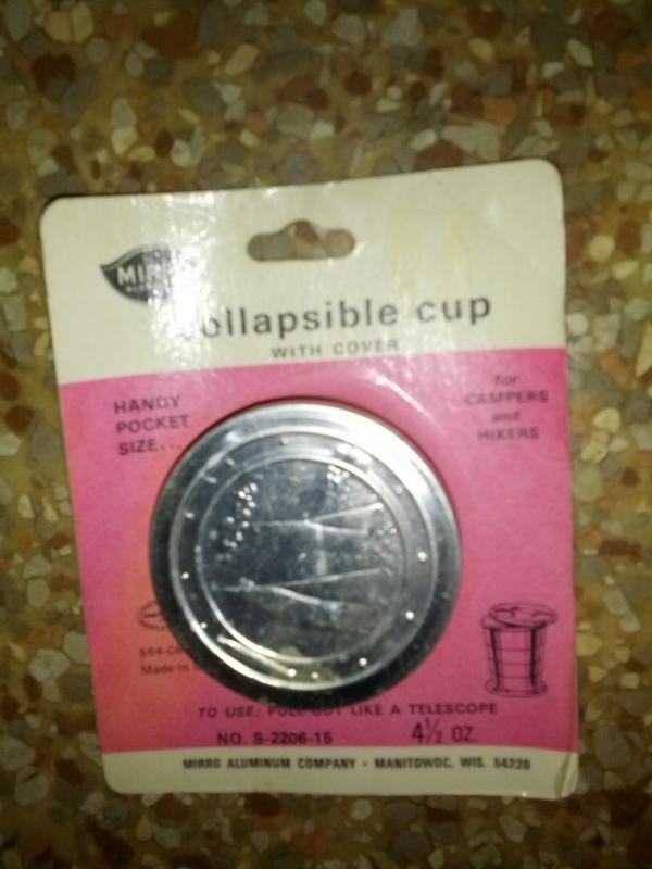 collapsible telescope cup sailboat scene cover lid usa manufactured hiker camper utensil mirro aluminum company manitowoc wisconsin original blister package