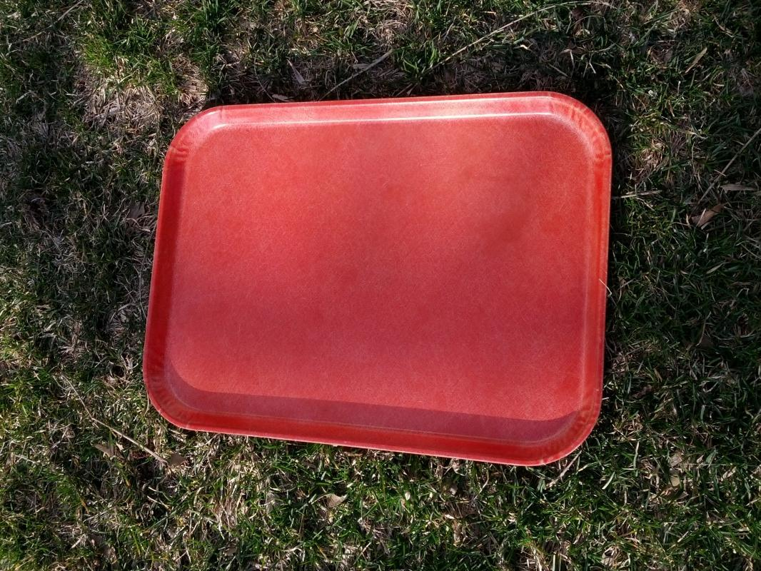 orange fiberglass lunchroom tray food beverage serving utensil retro era kitchen tool american retro era party platter
