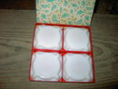 GOLD WHITE GLASS ASHTRAY GIFT BOX SET RETRO FEATHER ORIGINAL PACKAGE