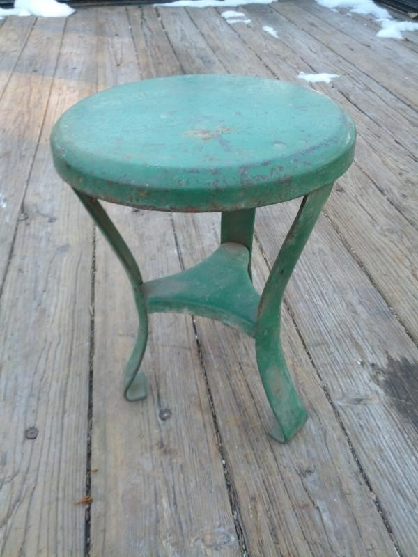 childrens size steel metal milking stool plant stand American Depression era farm shop tool