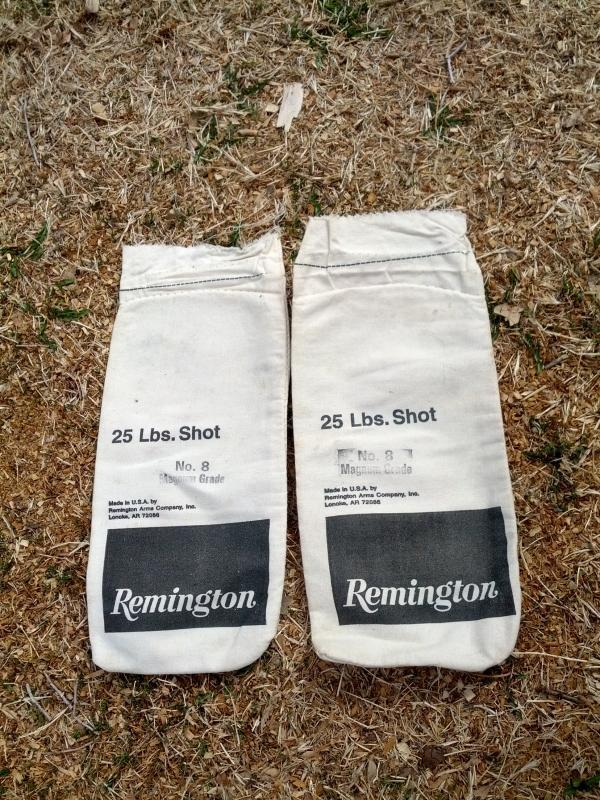 remington arms company black emblem lead shot sack pellet storage bag shotgun ammo reloading collectible