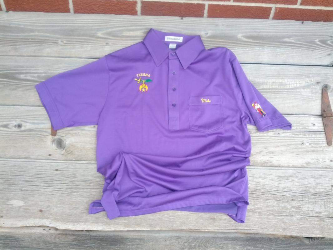tehama shriner purple shirt short sleeve garment organization apparel boardwalk brand taiwan tag mark