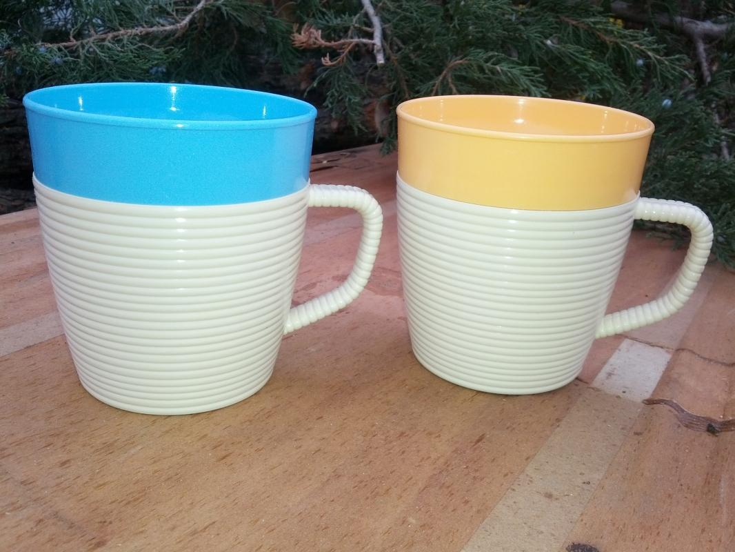 raffiaware mug turquoise blue peach colored plastic handled cup mallory randall kitchen beverage serving utensil