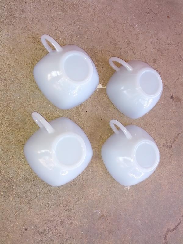 anchor hocking fireking charm pattern handled tea mug coffee cup azurite gray white glass tableware