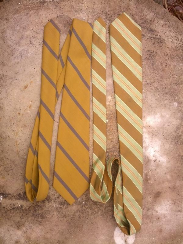 olive green bronze tone striped necktie 1960's fashion accessory habands story garment label polyester wool acetate retro fabric