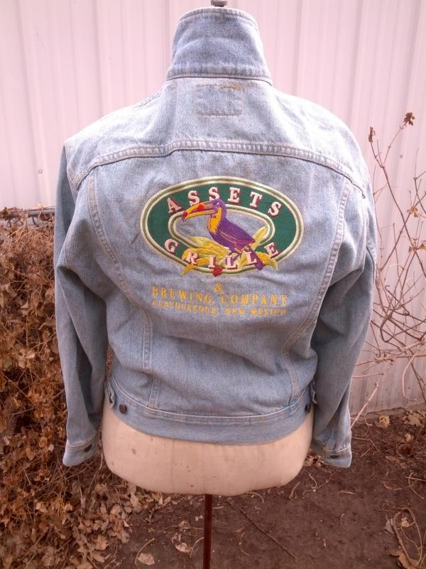 lee denim jean jacket assets brewing company albuquerque new mexico embroidery patch size medium