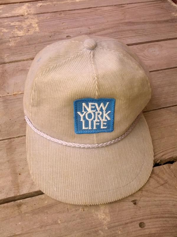 gray corduroy golfing hat retro golf cap new york life sew on style patch advertising headware garment