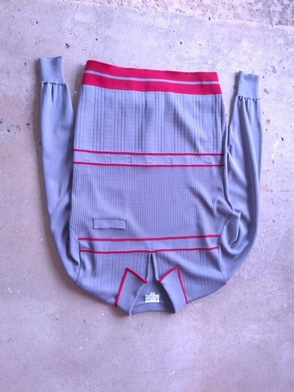 gino paoli full fashioned polyester shirt gray maroon stripe long sleeve garment retro apparel