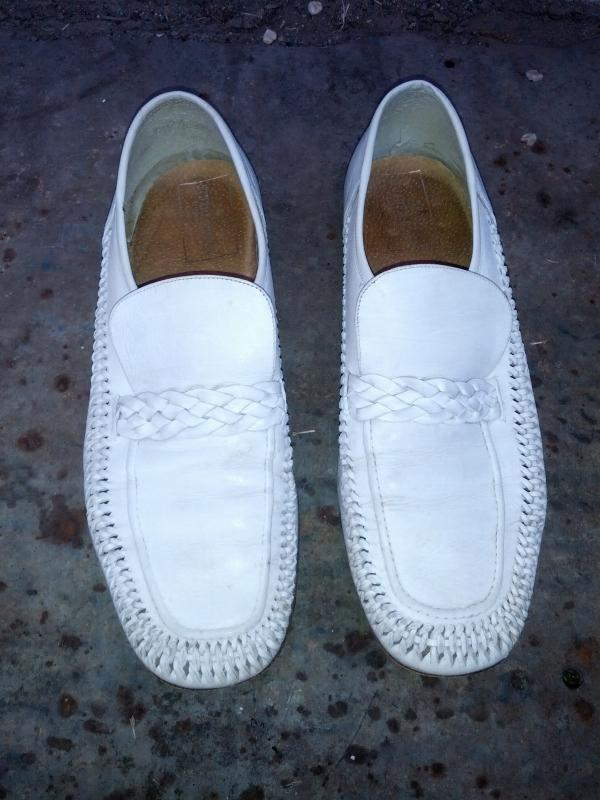 stuart mcguire italian white leather loafer pair mens shoes italy made mans footwear