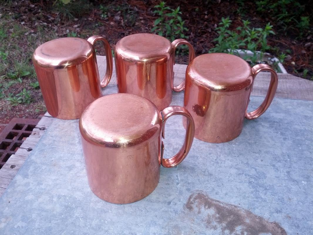 copper mug moscow mule style handled cups engraved donkey burro pattern retro bar ware kitchen utensil
