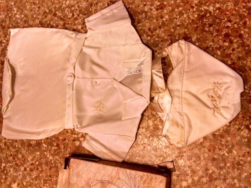 beautiful baby wear infant newborn white jumpsuit dacron sun bonnet cap vintage 1960's childs apparel clothing