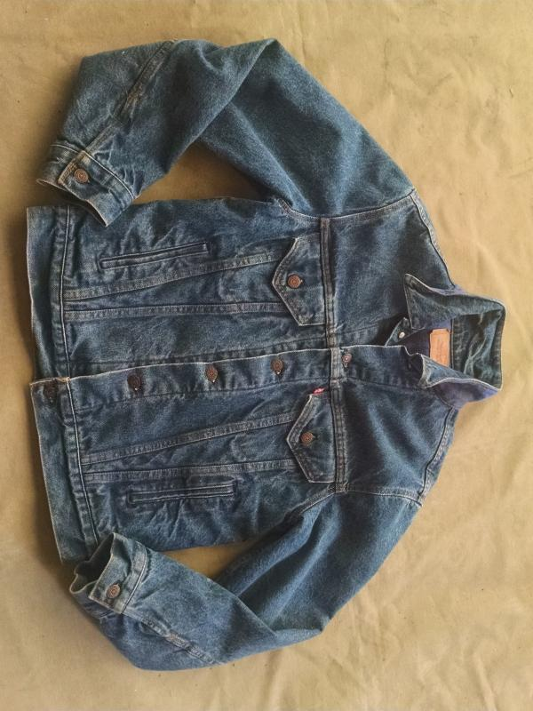Levi Strauss Denim Jean Jacket Cotton Flannel Lined Coat Size Medium Ladies Fashion Garment Apparel