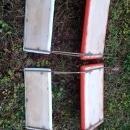 orange white vinyl stadium bleacher seat athletic event portable chair retro bench