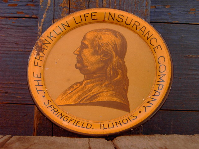 SPRINGFIELD ILLINOIS BEN FRANKLIN LIFE INSURANCE TRAY COASTER PLATE