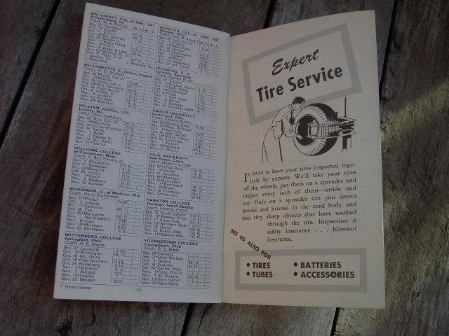 COLLEGE FOOTBALL GUIDE 1947 B F GOODRICH YORK NEBRASKA GEIS TIRE SHOP SUZ SAYGER TIFFIN OHIO