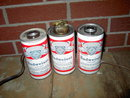 BUDWEISER STEEL BEER CAN ELECTRIFIED ELECTRIC  LAMP LIGHT FIXTURE CIGARETTE CIGAR LIGHTER RETRO BAR LOUNGE FIXTURE