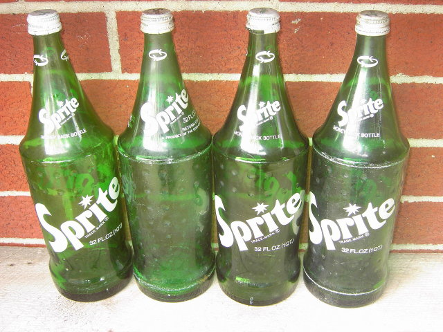 SPRITE GREEN SODA BOTTLE SET COCA COLA COMPANY 32 OUNCE LARGE SIZE