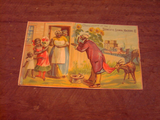 MAMMY NEGRO PEDDLER SALESMAN DOMESTIC SEWING MACHINE ADVERTISING CARD