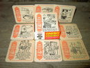 OVER 50 YEARS OLD COASTER SET CARTOON BAR COCKTAIL TRIVETS WATERTOWN MASSACHUSETTS IVORY TOWER 1989