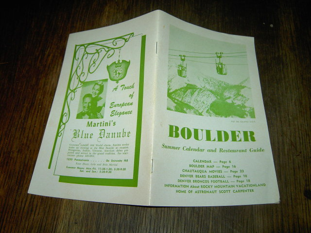 BOULDER COLORADO TOURIST GUIDE DENVER BEARS VAIL GONDOLA BUFFALOES BRONCOS 1966 SCHEDULE MCDONALDS KINGS ADVERTISEMENT